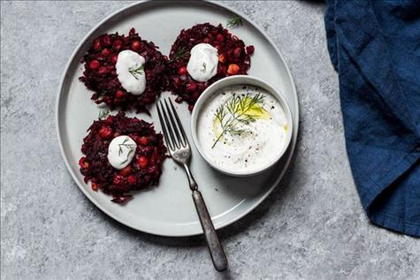 Beet Chickpea Cakes with Dill Yogurt Sauce